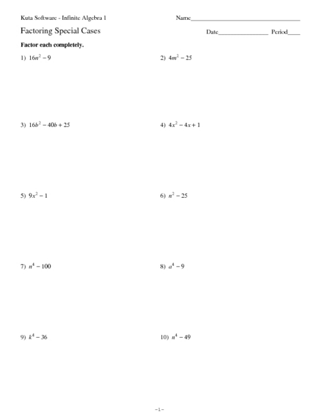 Factoring Special Products Worksheet - Davezan