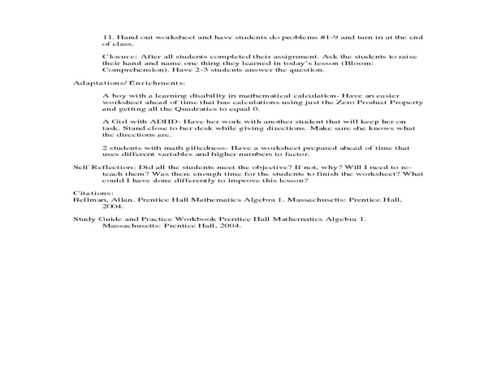 Factoring To Solve Quadratic Equations Worksheet Answers – Quadratic Factoring Worksheet