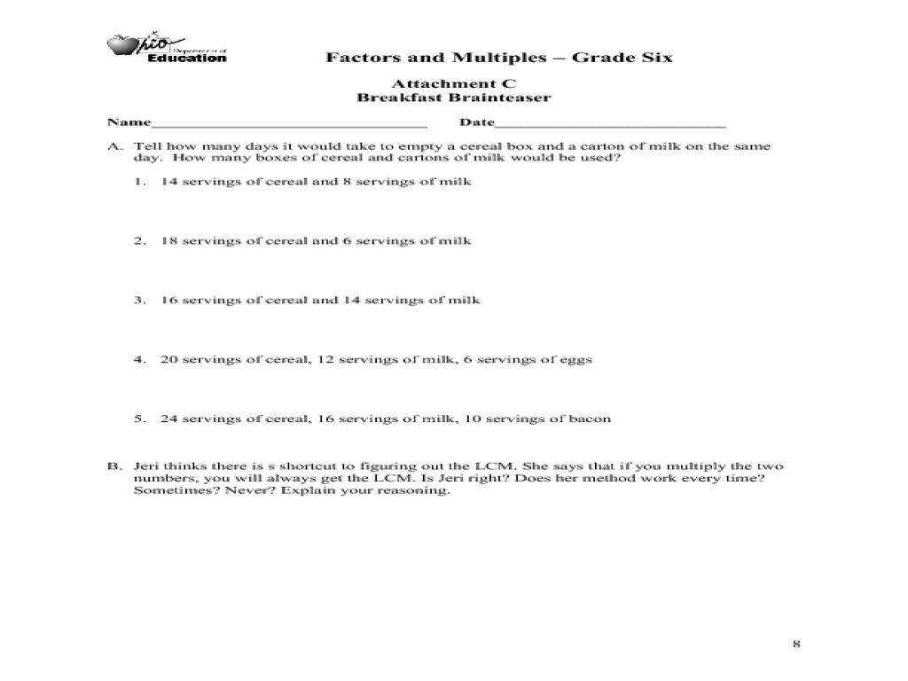 Factors and multiples worksheets ks2