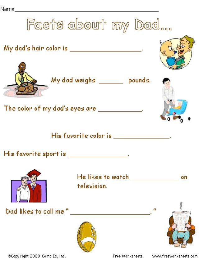 Facts About my Dad Kindergarten 2nd Grade Worksheet – Dad Worksheets