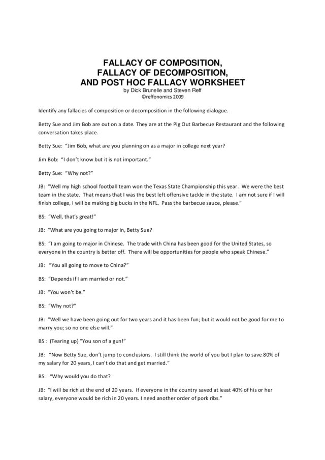 Fallacy Worksheet Free Worksheets Library – Fallacies Worksheet