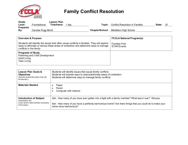 Worksheet Conflict Resolution Worksheets family conflict resolution 10th 12th grade lesson plan planet