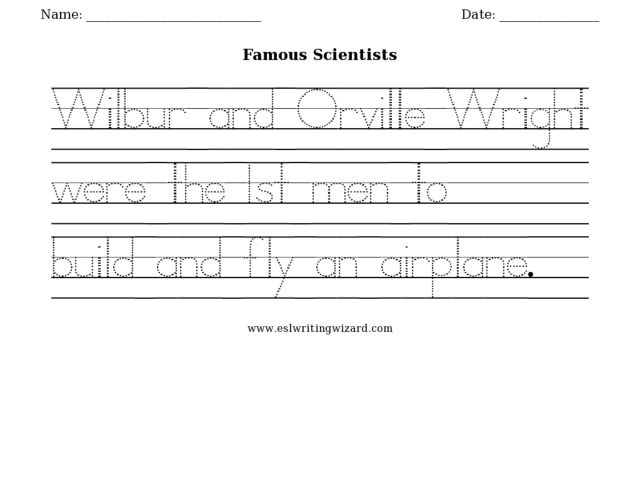 Famous Scientists: Sentence tracing 1st - 3rd Grade Worksheet ...