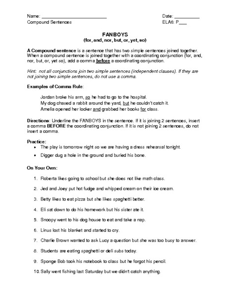 Printables Fanboys Grammar Worksheet fanboys 9th grade worksheet lesson planet