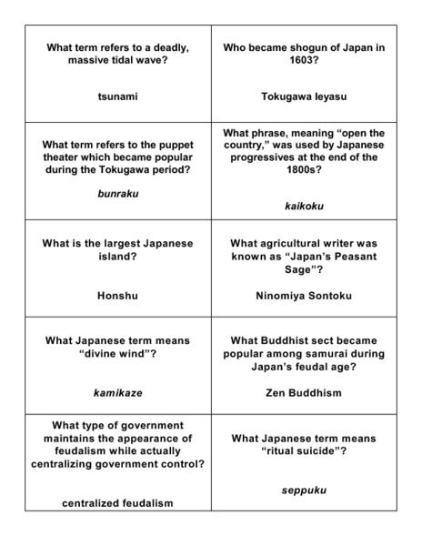 Worksheets Feudalism Worksheet feudal japan trivia cards 7th 8th grade worksheet lesson planet