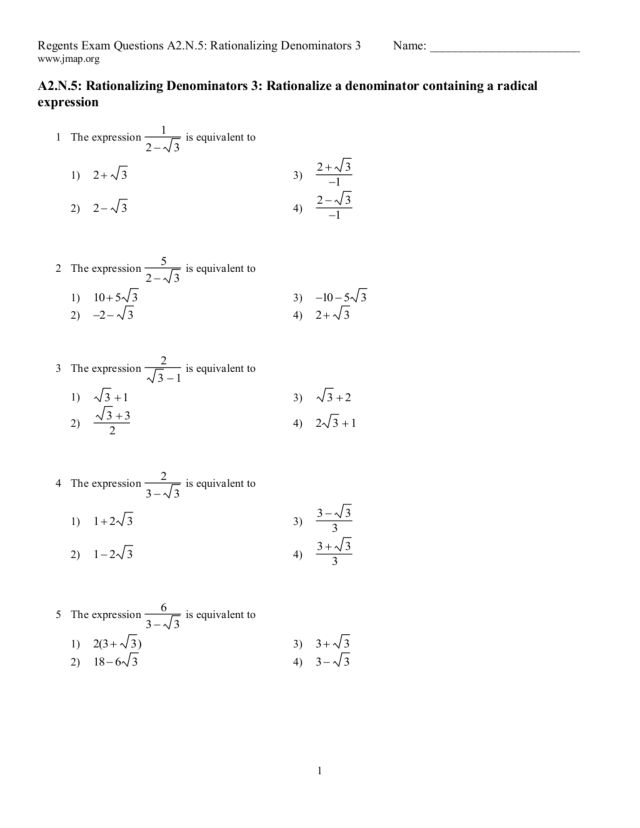 Fifteen Multiple Choice Rationalizing the Denominator Problems ...