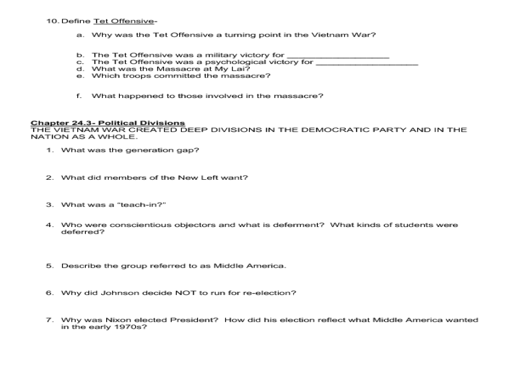 Fighting the Vietnam War 8th - 12th Grade Worksheet | Lesson Planet