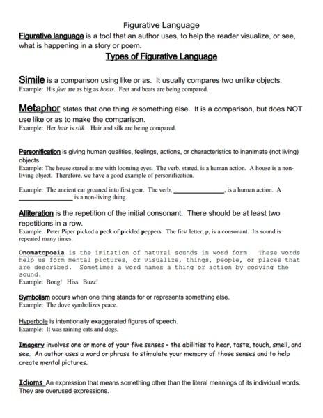 6th Grade » Figurative Language Worksheets 6th Grade - Printable ...