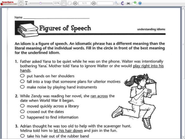 Worksheets Figures Of Speech Worksheet figures of speech understanding idioms 5th 6th grade worksheet lesson planet