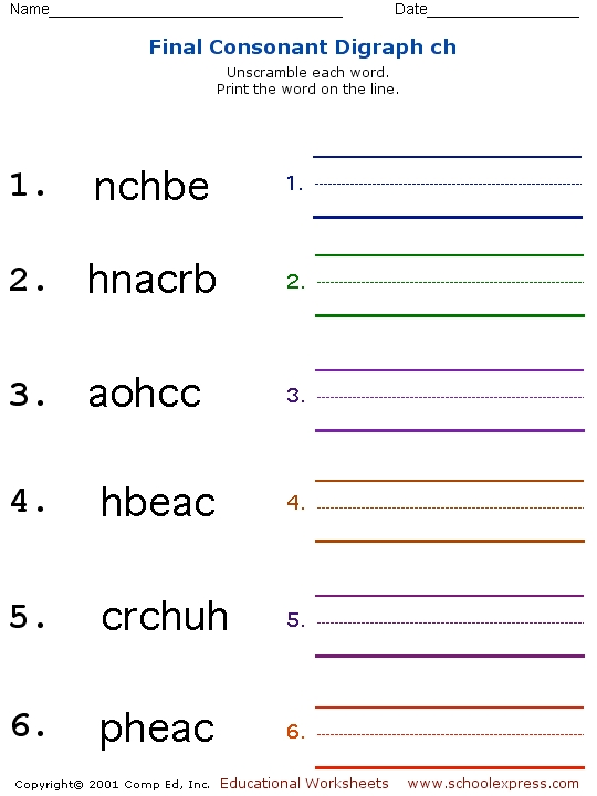 Consonant digraphs worksheets for grade 2