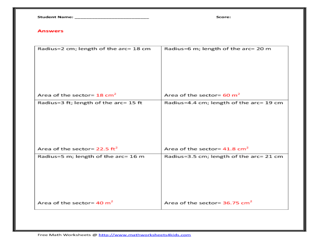 Area Of Sector Worksheet – Sharon Wells Math Worksheets