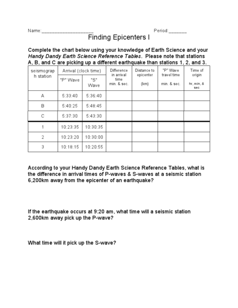 Earthquake P Wave And S Wave Travel Time Worksheet Worksheets For ...