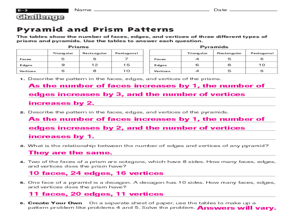Prisms And Pyramids Worksheets in Pyramids And Prisms 4th