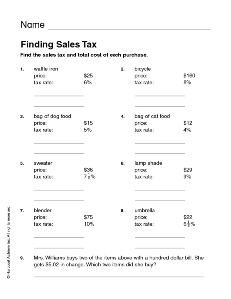 Printables Sales Tax Worksheet finding sales tax 2nd 4th grade worksheet lesson planet