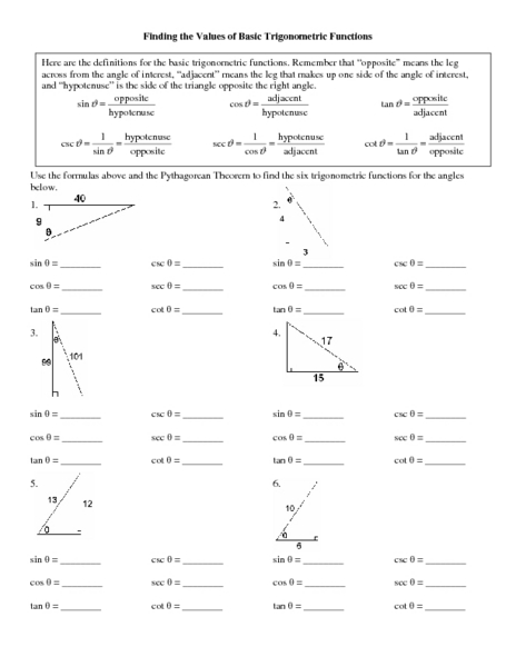Trigonometric functions worksheet answers