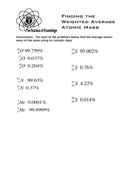 Printables Average Atomic Mass Worksheet finding the weighted average atomic mass 10th higher ed worksheet lesson planet