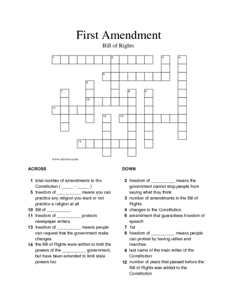 Printables Constitutional Amendments Worksheet first amendment worksheet intrepidpath crossword puzzle 5th 8th grade worksheet
