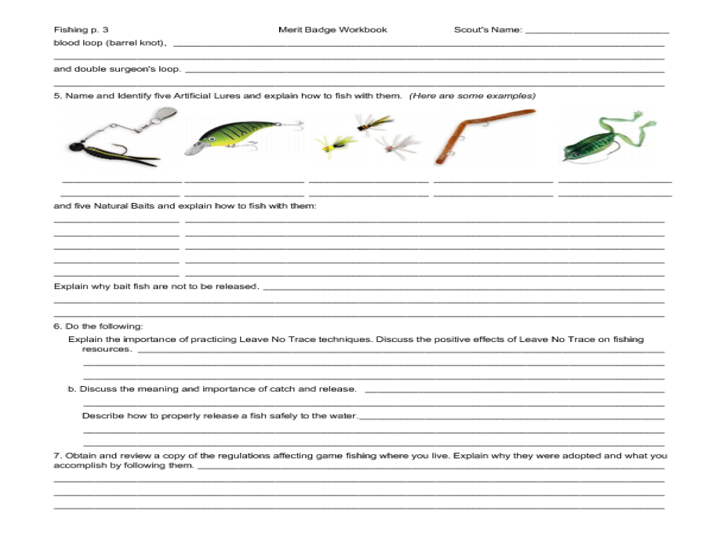 Worksheets Fishing Merit Badge Worksheet fishing merit badge worksheet ...
