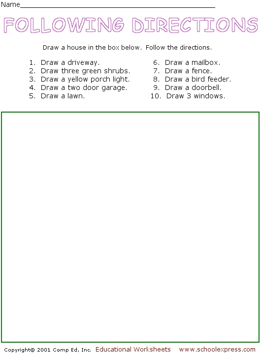 Following directions worksheet 3rd grade