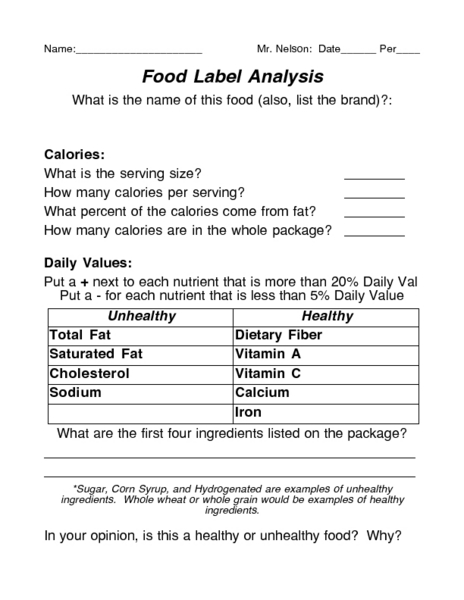 Printables Nutrition Facts Label Worksheet food label analysis 5th 9th grade worksheet lesson planet