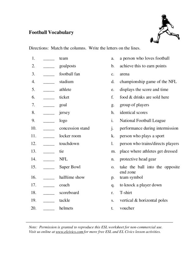 Printables 8th Grade Vocabulary Worksheets football vocabulary 2nd 6th grade worksheet lesson planet