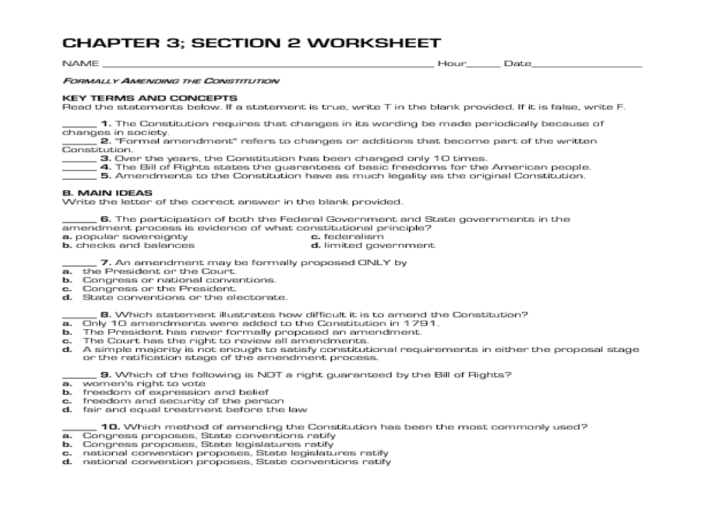 Printables Amending The Constitution Worksheet formally amending the constitution 10th 12th grade worksheet lesson planet