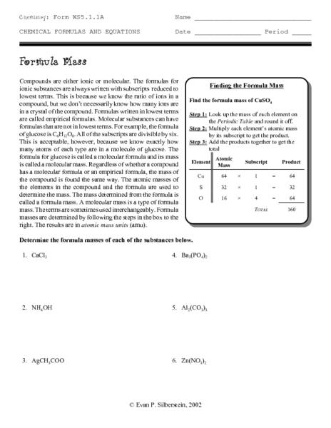Formula Mass Worksheet images