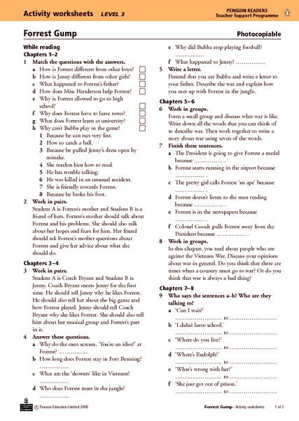 Forrest Gump Activity Worksheets 11th - 12th Grade Worksheet ...