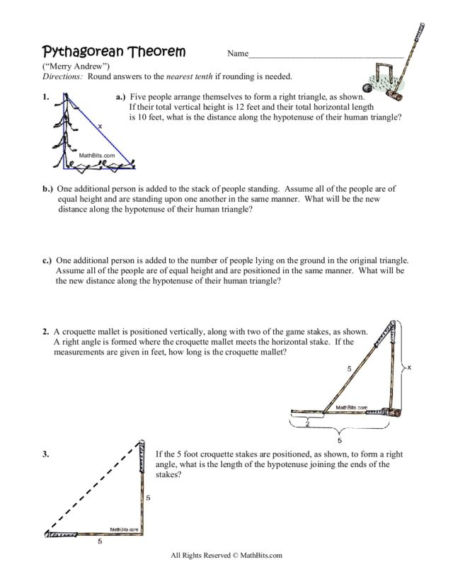 Four Pythagorean Theorem Word Problems 8th 10th Grade Worksheet – Math Pythagorean Theorem Word Problems Worksheets