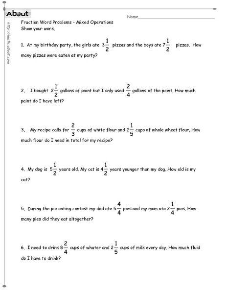 Fractions word problems worksheets 4th grade