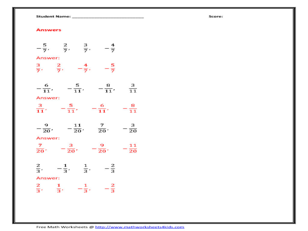 Ordering Fractions Worksheets 4th Grade add and subtract decimals – Worksheet on Ordering Fractions