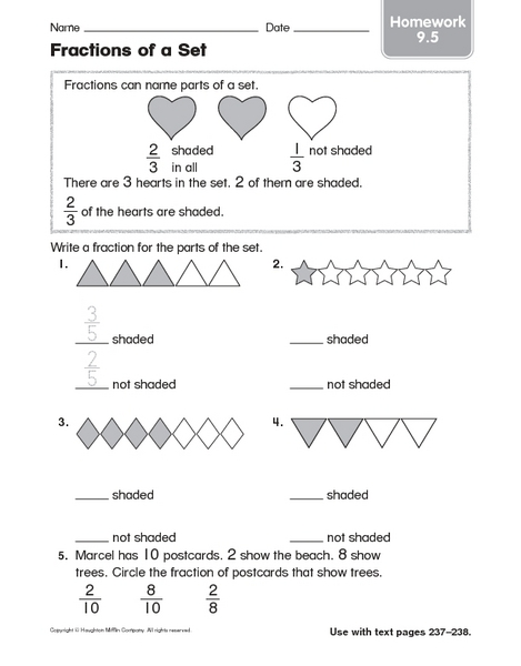 Fractions of a set worksheets 4th grade