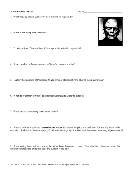 frankenstein coursework chapter 5 The setting and descriptions of chapter 5 of frankenstein - in chapter 5 of frankenstein, victor has just finished his creation, with seemingly great regret.