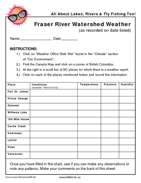 Fraser River Watershed Weather 6th - 12th Grade Worksheet | Lesson ...