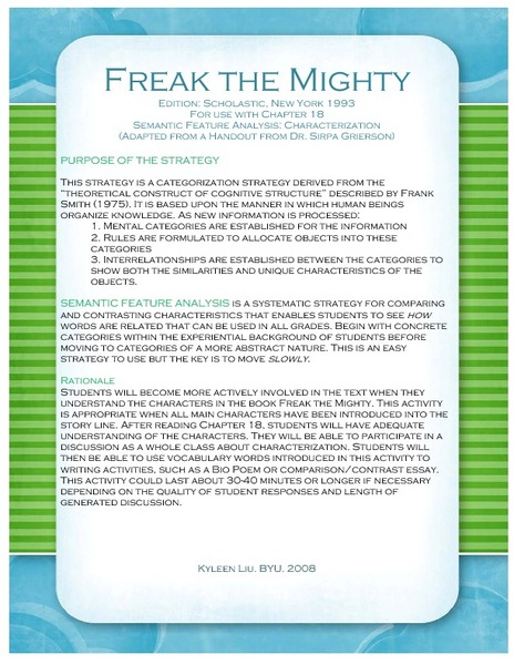 freak the mighty book report
