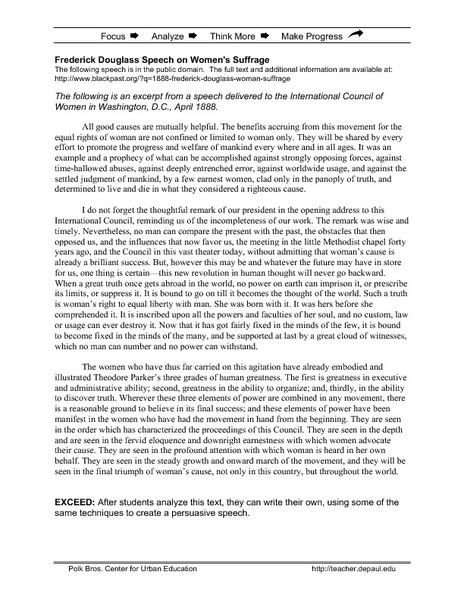 Worksheet Frederick Douglass Worksheet fredrick douglass speech on womens suffrage 9th 12th grade worksheet lesson planet