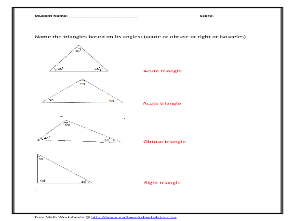 interior angles of a triangle worksheet Termolak – Angles of a Triangle Worksheet