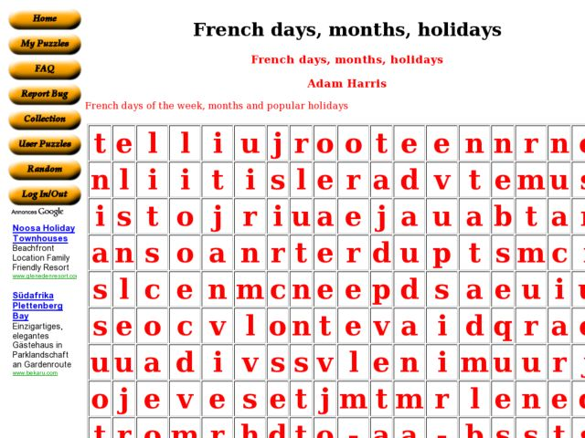 French Days, Months, & Holidays 9th - 12th Grade Worksheet ...