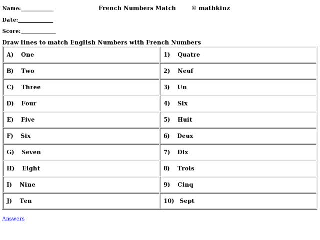 how to say number two in french