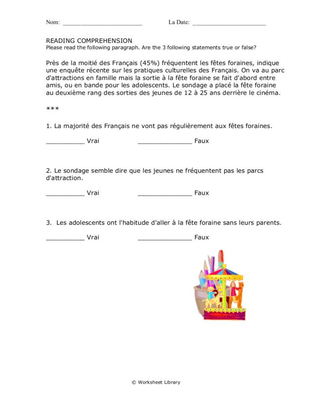 Printables French Reading Comprehension Worksheets french reading comprehension 3rd 6th grade worksheet lesson planet