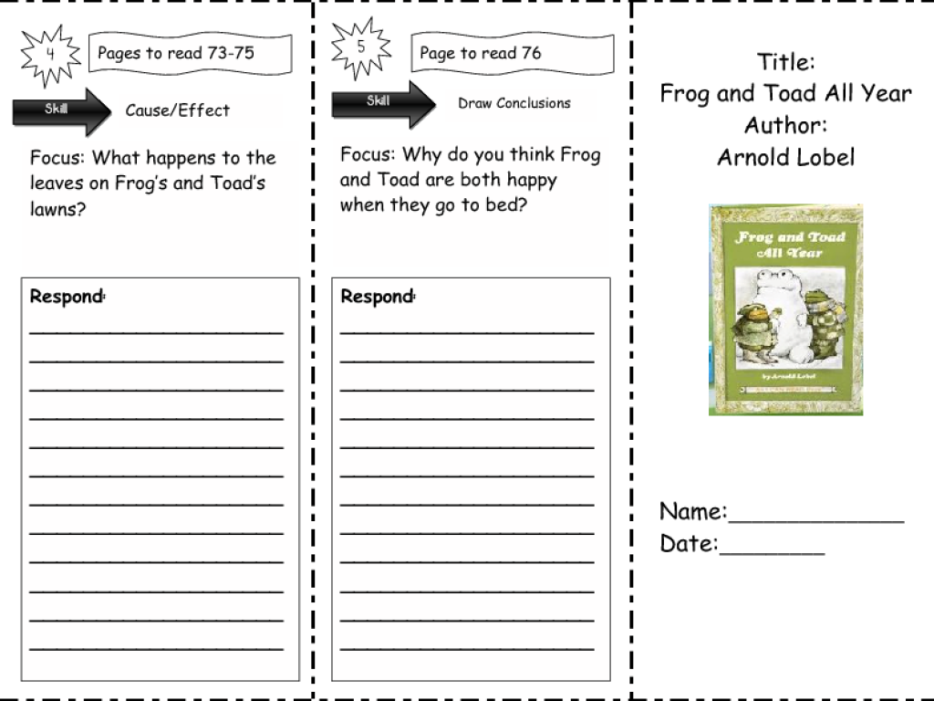 Printables Frog And Toad Worksheets frog and toad all year comprehension skills 2nd 3rd grade worksheet lesson planet