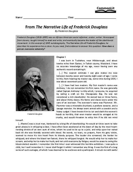Printables Frederick Douglass Worksheet from the narrative life of frederick douglass 7th 8th grade worksheet lesson planet