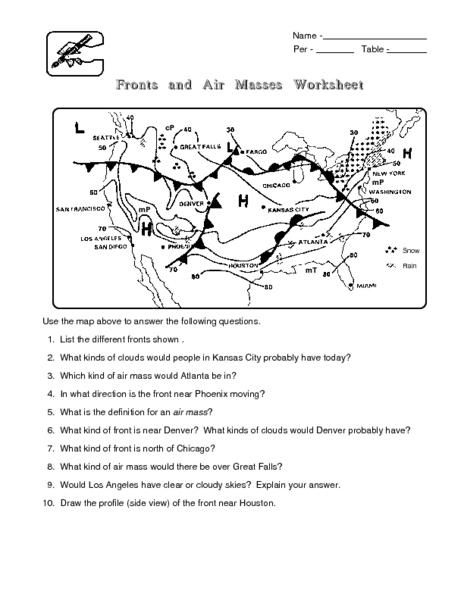 Worksheets Air Masses Worksheet fronts and air masses worksheet 6th 8th grade lesson plan planet