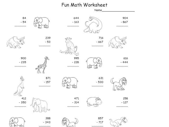 math worksheet : fun math worksheet multiple digit subtraction 5 3rd  5th grade  : Multi Digit Subtraction Worksheets
