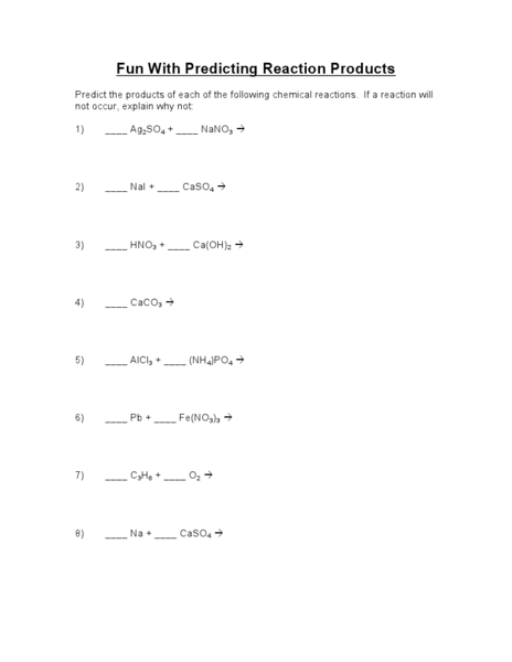 Worksheets Predicting Products Of Chemical Reactions Worksheet fun with predicting reaction products 9th higher ed worksheet lesson planet