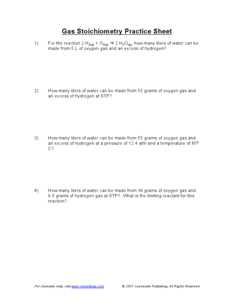 Gas Stoichiometry Practice Sheet 9th - 12th Grade Worksheet ...