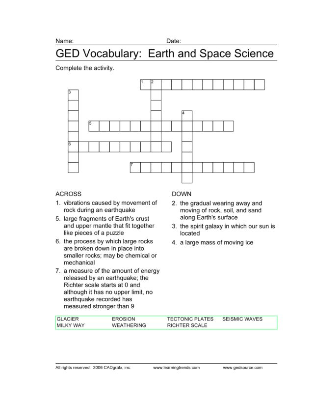 Printables Earth And Space Science Worksheets ged vocabulary earth and space science 7th 9th grade worksheet lesson planet