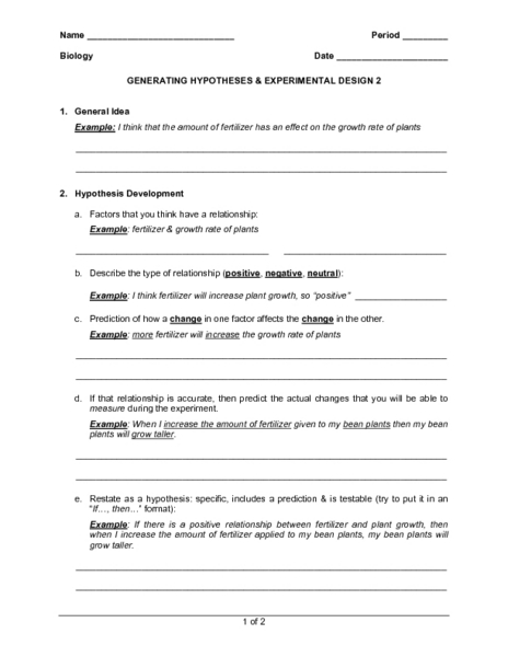 Printables Experimental Design Worksheet generating hypotheses experimental design 2 7th 12th grade worksheet lesson planet