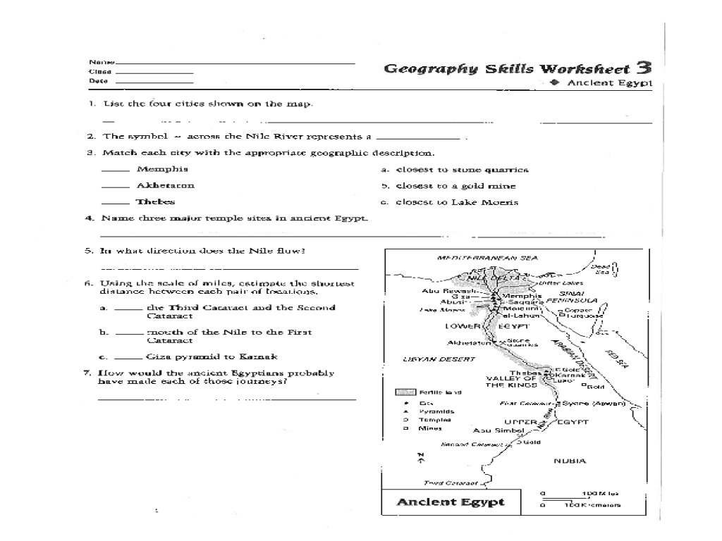 Geography Skills Worksheet: Ancient Egypt 6th - 9th Grade ...
