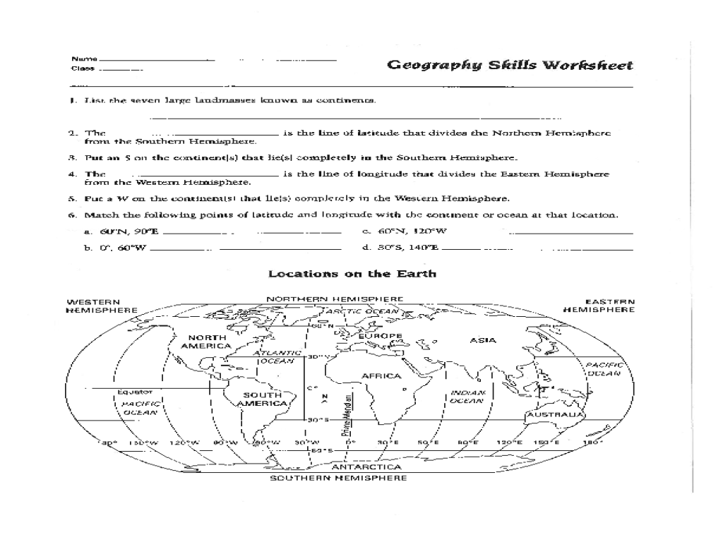 Basic Map Skills Worksheet – Reading a Map Worksheet